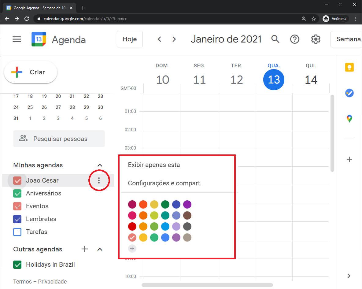 Compartilhar Agenda Google