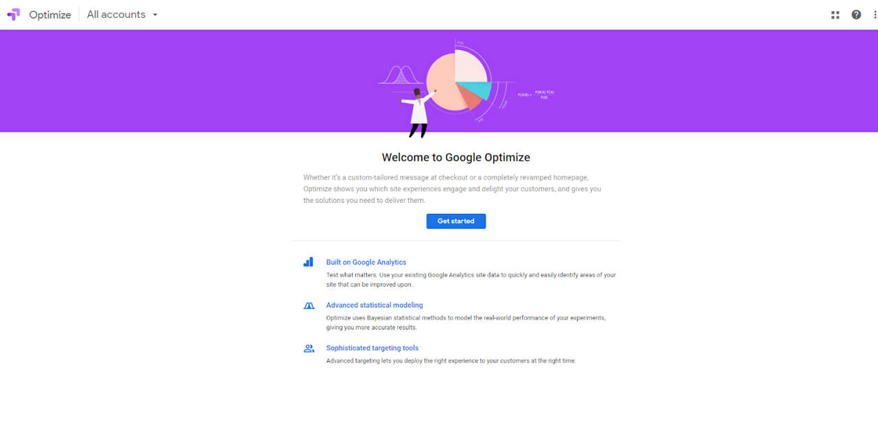 Crie a sua conta no Google Optimize