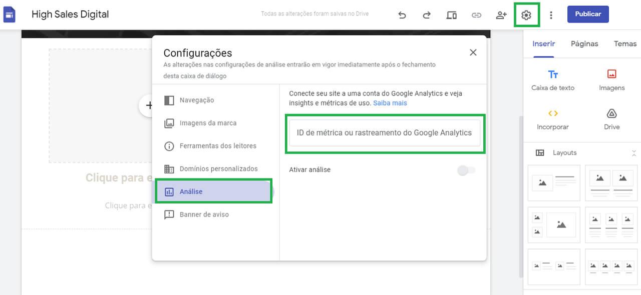 Google Analytics no Google Sites