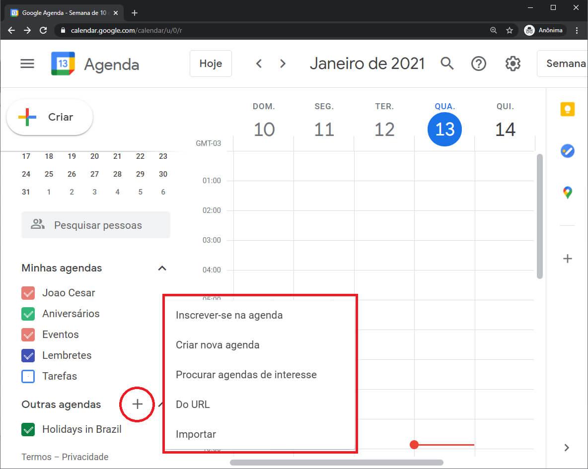 Opções para Sincronizar Agenda Google