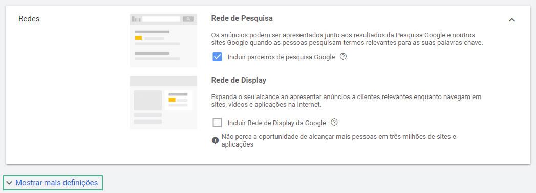 anuncio no Google: rede de pesquisa 01