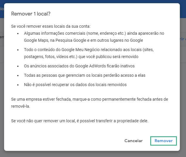 Como excluir empresa do Google Meu Negócio passo cinco