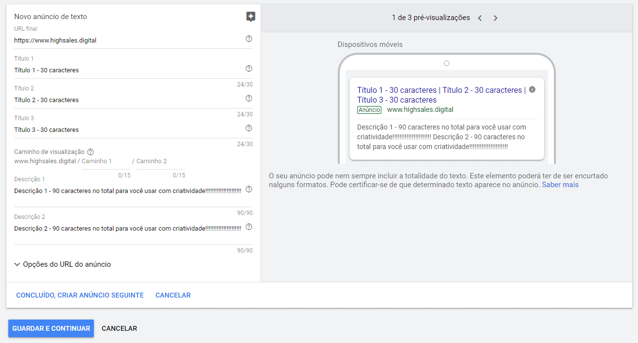 como fazer anuncio google rede de pesquisa passo treze exemplo 1