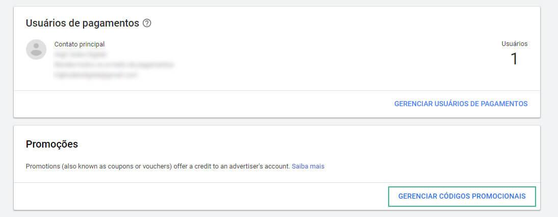 como usar o cupom google ads passo três