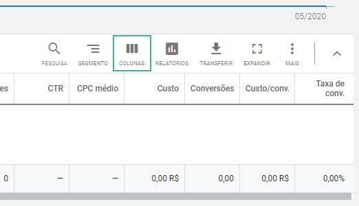 como ver o indice de qualidade Google Ads passo 3