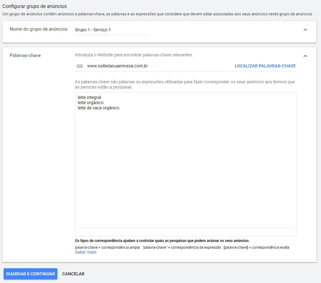 configurar grupo de anúncios para anunciar no Google