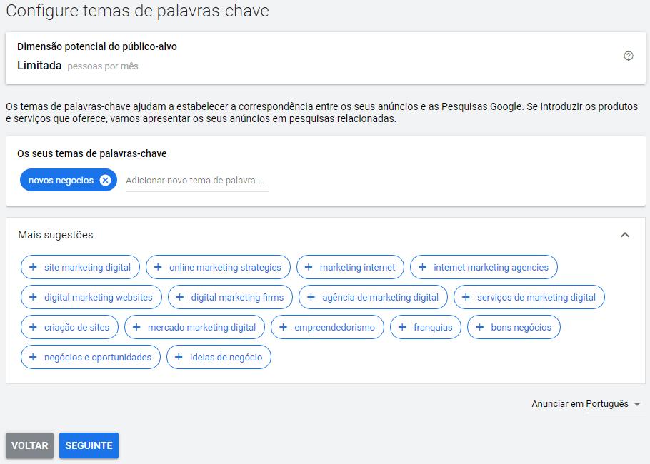 configure temas de palavras-chave