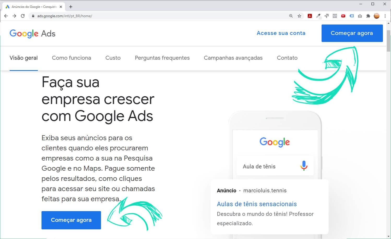 Criar conta Google Ads- botão Começar Agora