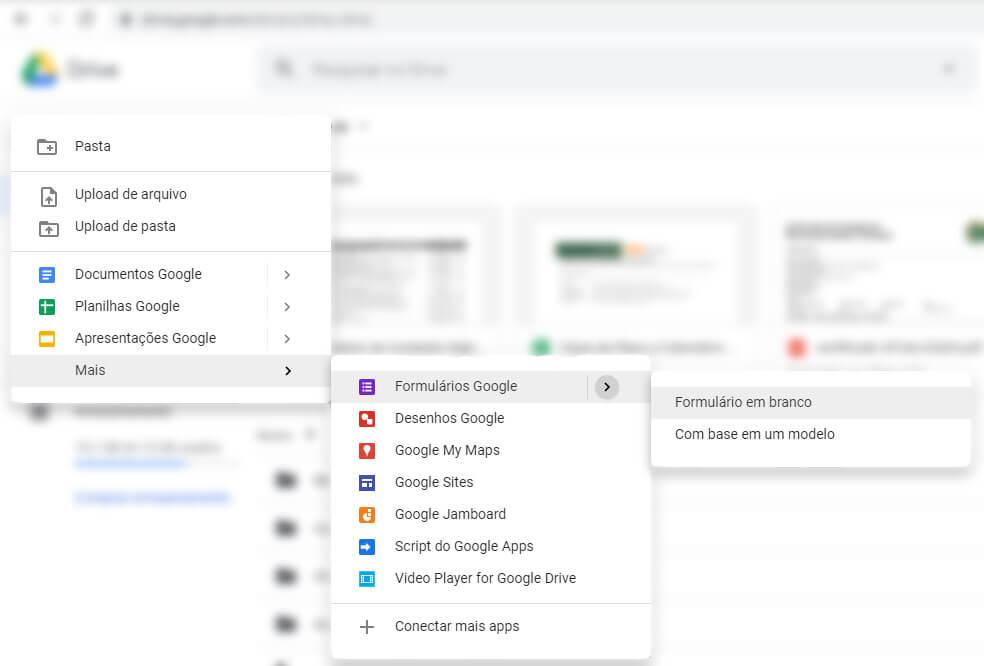 criar formularios Google forms: passo dois