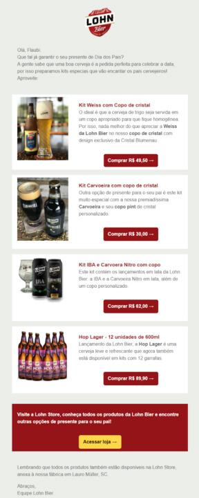 email marketing exemplos para e-commerce da Lohn