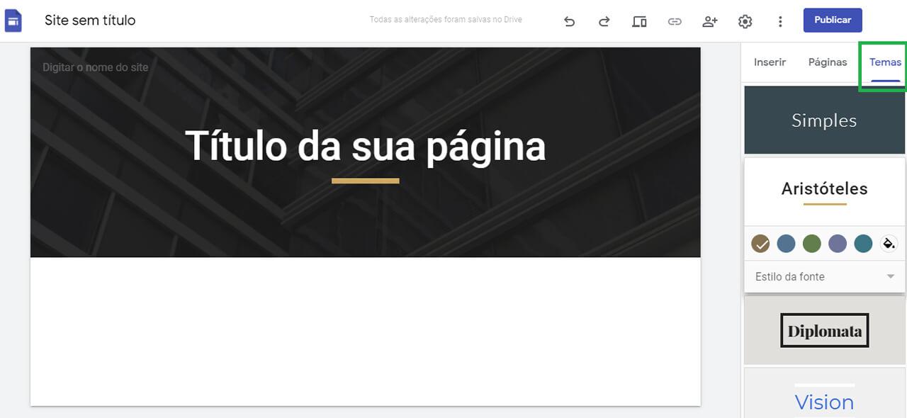 escolha tema no Google Sites