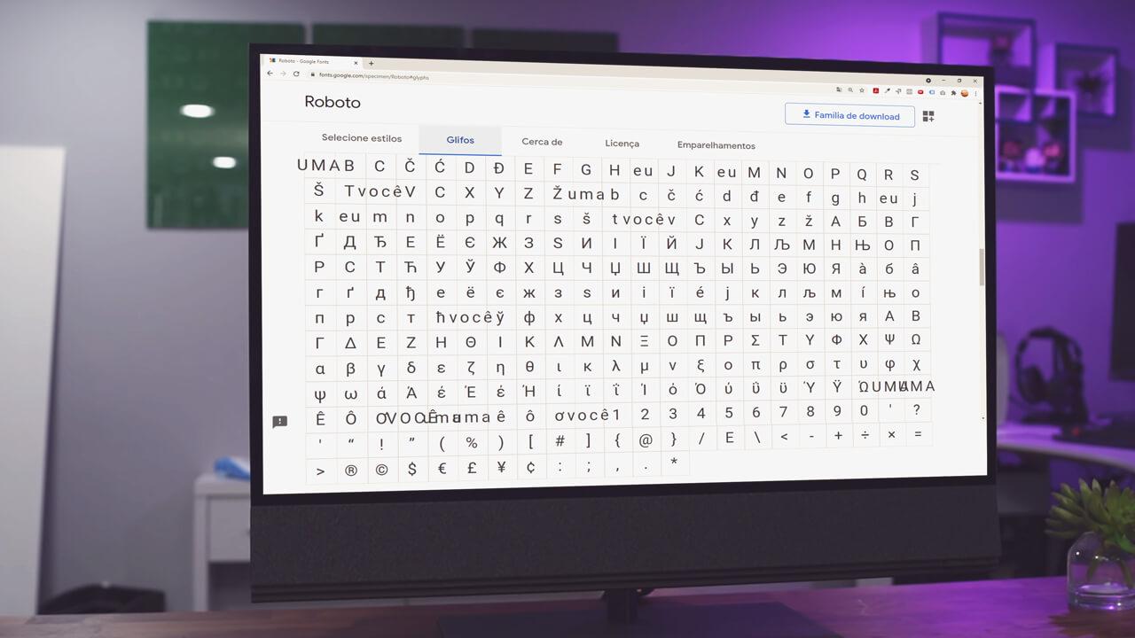 Escolhendo a Glifos no Google Fonts