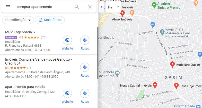 Exemplo de anuncio Google Ads para Google Maps