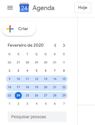 Google agenda:  visualize um período especifico da agenda