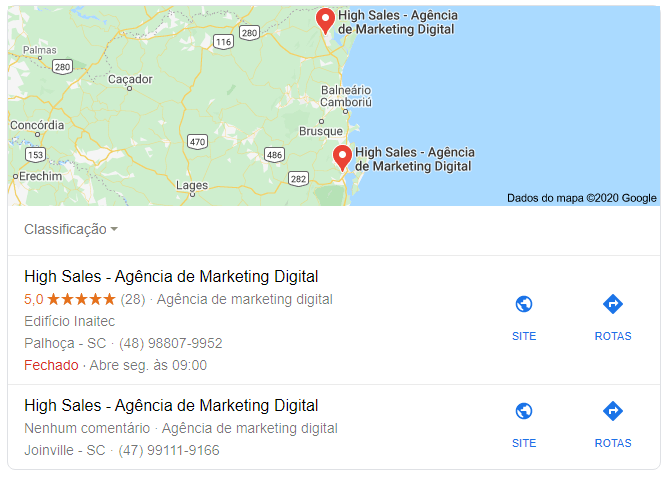 google meu negocio da Agência de Marketing Digital High Sales