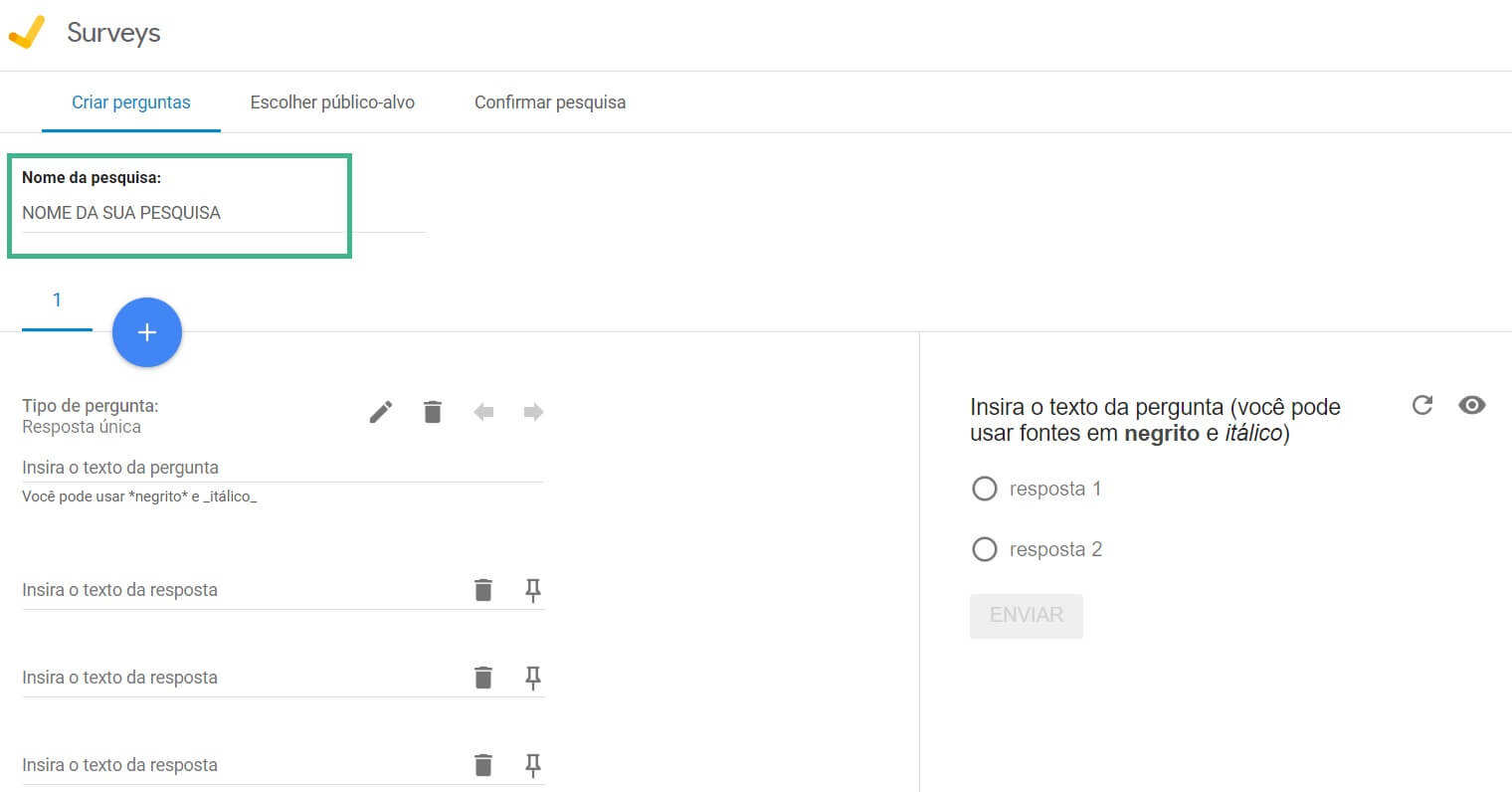 Nome da pesquisa no Google Survey