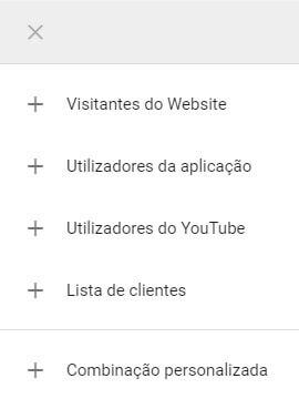 opções do Google Ads remarketing