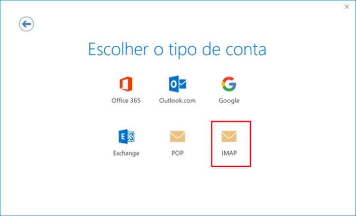 Outlook corporativo escolha tipo de conta