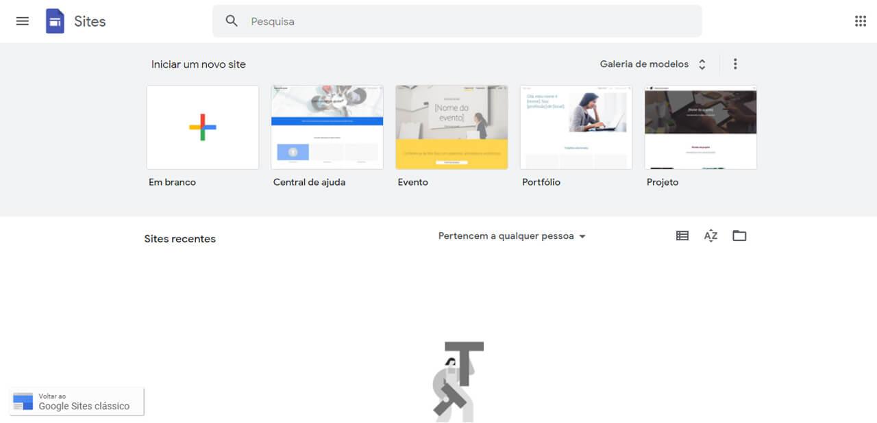 pagina inicial do Google Sites