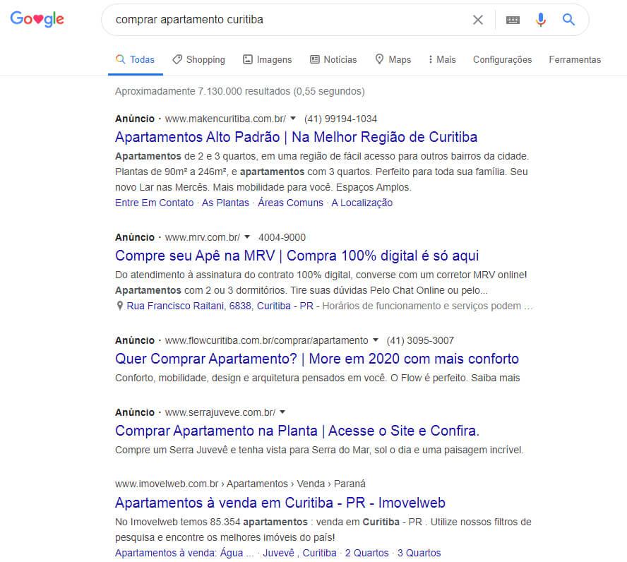 resultado das pesquisas feitas no Google Ads