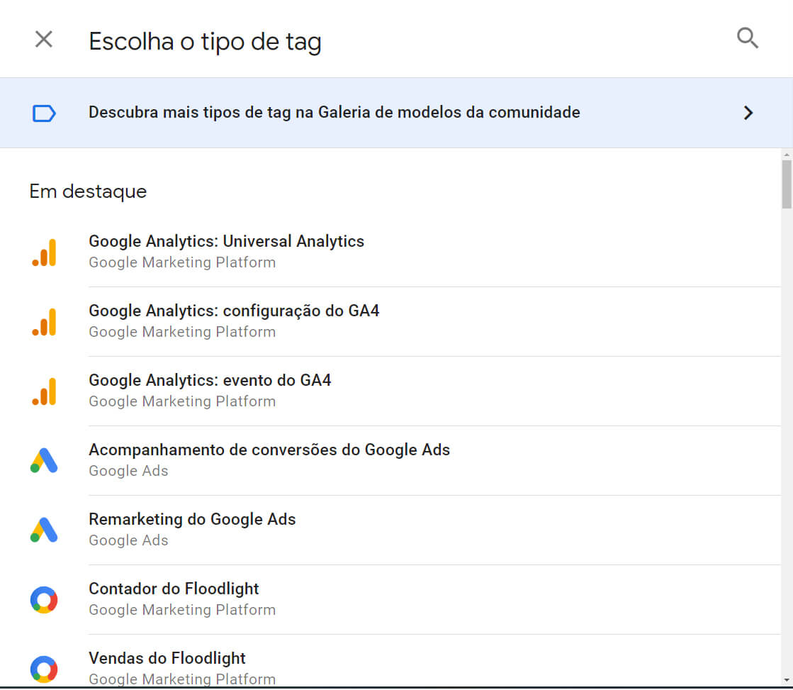 tipos de Tag do Google Tag Manager